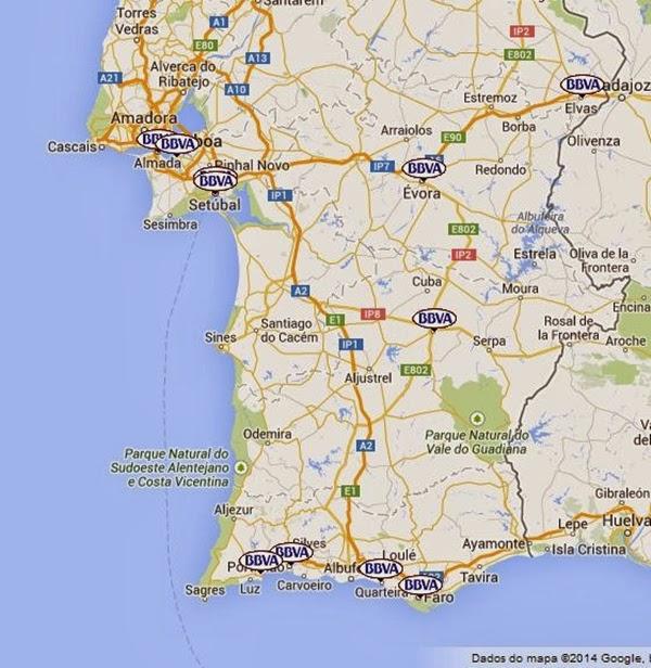 mapa do algarve e alentejo Agências BBVA em Setúbal, Alentejo e Algarve   Bancos de Portugal mapa do algarve e alentejo